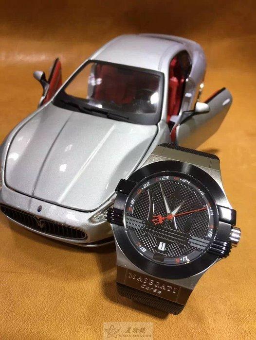 請支持正貨,瑪莎拉蒂手錶MASERATI手錶POTENZA款,編號:MA00030,黑色錶面黑色PU錶帶款