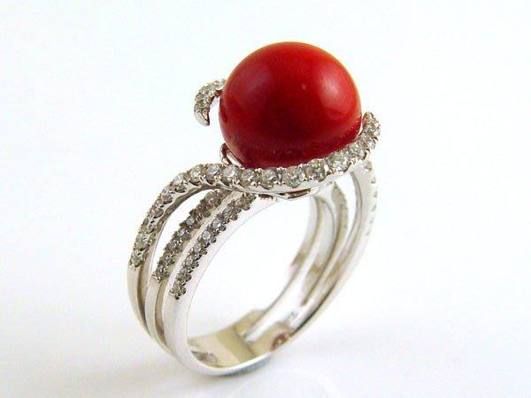 紅珊瑚 鑽戒 天然阿卡 圓珠 戒指 附保證書 【大千珠寶】