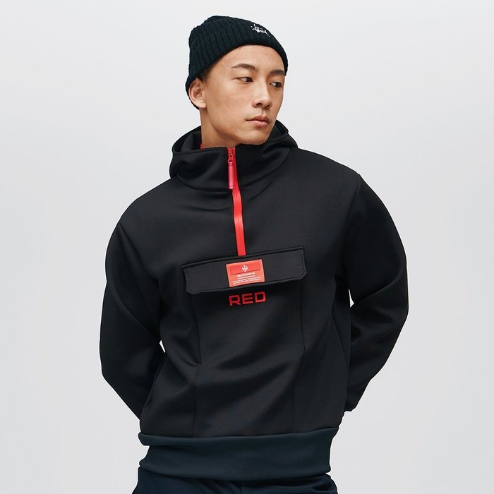 【OTOKO Men's Boutique】固制:RED太空棉套頭運動衛衣/黑色 (台灣獨家代理) 原廠正品