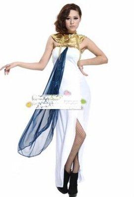 萬聖節希臘女神服裝埃及女王裝阿拉伯白色長裙 一套價