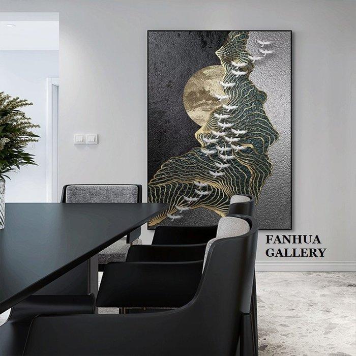 C - R - A - Z - Y - T - O - W - N 新中式飛鳥金色線條抽象掛畫客廳背景牆裝飾畫玄關走廊餐廳藝術畫立體視覺時尚高檔辦公室招財掛畫