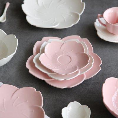 餐具 陶瓷櫻蕊日式陶瓷盤子家用菜盤吃飯碗水果盤醋碟咖啡杯PZ-112