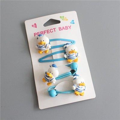 ☆草莓花園☆(一套4個) C180藍色水手鴨套裝  兒童髮夾 髮繩 拍照攝影頭飾髮飾