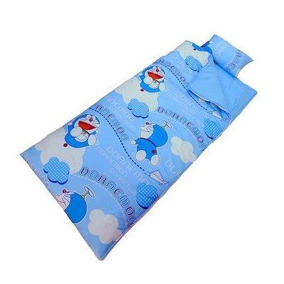 YR==YvH==Sleepbag 正版卡通 藍色 哆啦A夢 KITTY 特大5x5尺舖棉兩用兒童睡袋 100%精梳純棉 台灣製