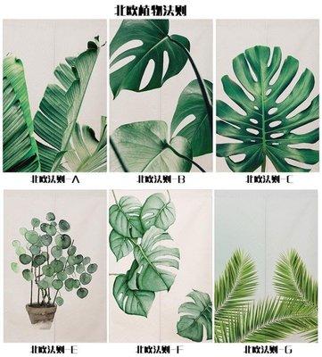 綠色北歐簡約清新植物法則INS風格裝飾客廳臥室衣柜棉麻半掛門簾  可開發票-免運Al 可開發票