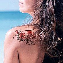 【萌古屋】紅色圖騰花朵 - 男女防水紋身貼紙刺青貼紙FC-107 K02