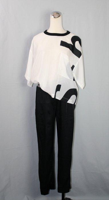 海洋工坊二手名牌旗艦店~Brunello Cucinelli 黑緞面銀邊鬆緊休閒褲