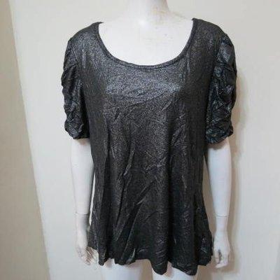 ~珍珍的店~ FOREVER 21 黑色銀蔥短袖抓皺顯瘦上衣 胸圍48寸 三件 A37.A15