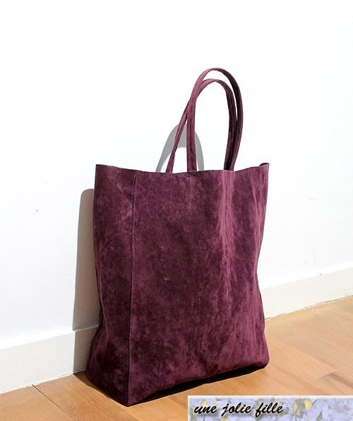 獨家手工定製麂皮絨葡萄紫身紫cabas女星最愛cEline感休閒購物袋托特包歐美街拍