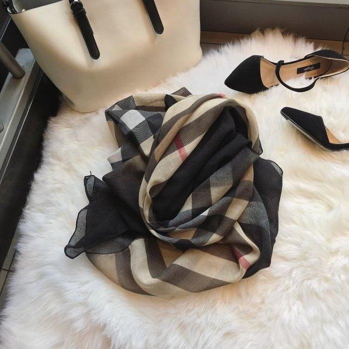 韓風圍巾女冬季明星同款格子圍巾  初服