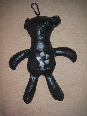 全新黑色熊寶貝造型玩偶、環保購物袋兩用