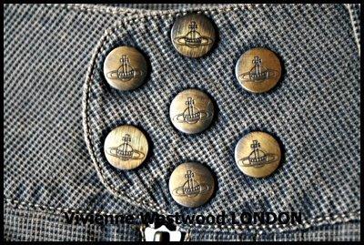 專櫃真品Vivienne Westwood LONDON淺棕色正統英倫風超細格紋牛仔褲(原價$38500)