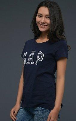 GAP 短袖 t恤 上衣 現貨 女生 標誌 深藍