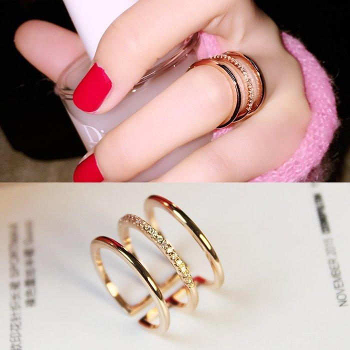 乾一簡約百搭3層鑲鉆指環韓版女戒韓國時尚夸張女士戒指食指