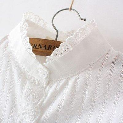 ☜男神閣☞休閒純色內搭衫蕾絲花邊立領小清新純棉修身長袖白襯衫女