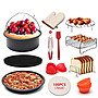 【Love Shop】豪華超值組 7吋氣炸鍋配件12件套適用3.5-5.8L蛋糕籃披薩盤雙層烤架