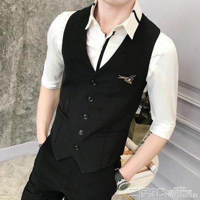 西服背心 發型師理發店背心美發師韓版潮男帥氣大碼青年西裝修身小背心外套
