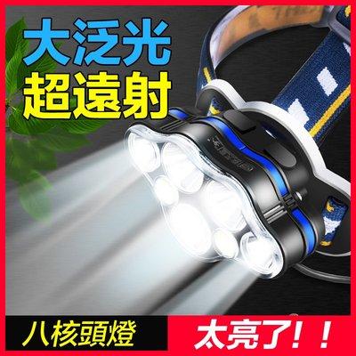 24小時快速出貨【七燈爆亮丨含18650電池2入】大功率LED頭燈 釣魚登山燈 手電筒 強光頭燈 8檔【GZ0225】