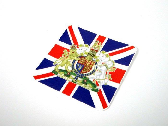 【衝浪小胖】英國徽方形旅行箱貼紙/抗UV防水/登機行李箱/世界多國可收集訂製