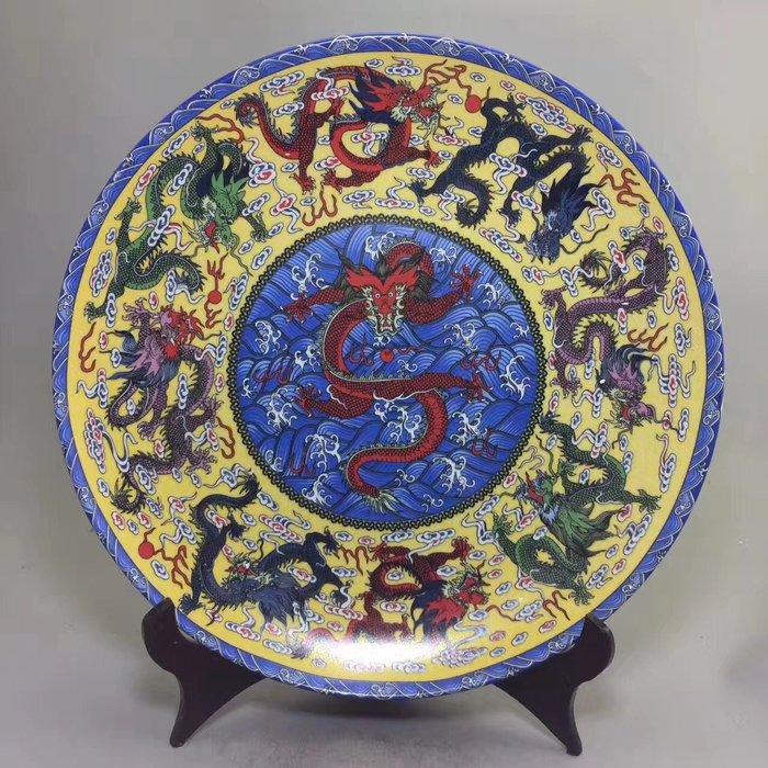 古玩工藝品  古玩老貨 仿古舊貨 收藏瓷器九龍盤子擺件