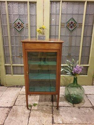 【卡卡頌 歐洲跳蚤市場/歐洲古董】英國古董  桃花心木 手工嵌木 銅輪 細膩玻璃  展示收納櫃 ca0227✬