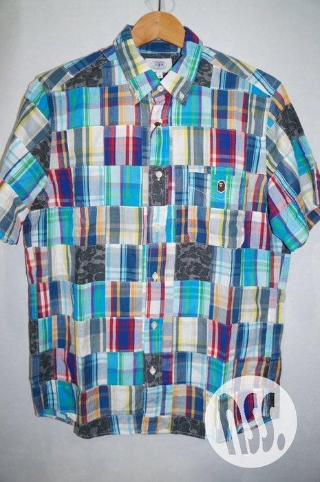 特價「NSS』A BATHING APE BAPE CHECK PATCHWORK SHIRT 拼接 短袖 襯衫 M L