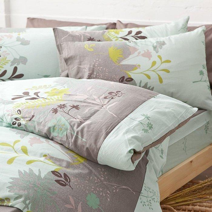 床包兩用被組 / 雙人特大【香草綠】含兩件枕套  舖棉兩用被套  100%純綿  戀家小舖台灣製AAC515