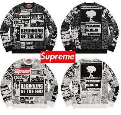 【Cheers】Supreme Newspaper Print 報紙 滿版 印刷 針織 毛衣 衛衣 限量 黑 白