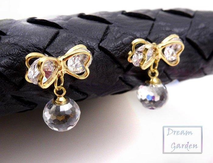 韓國進口 ✈ 飾品  耳環 耳針  立體雙層金框蝴蝶結 水鑽垂吊耳環 透明水晶球