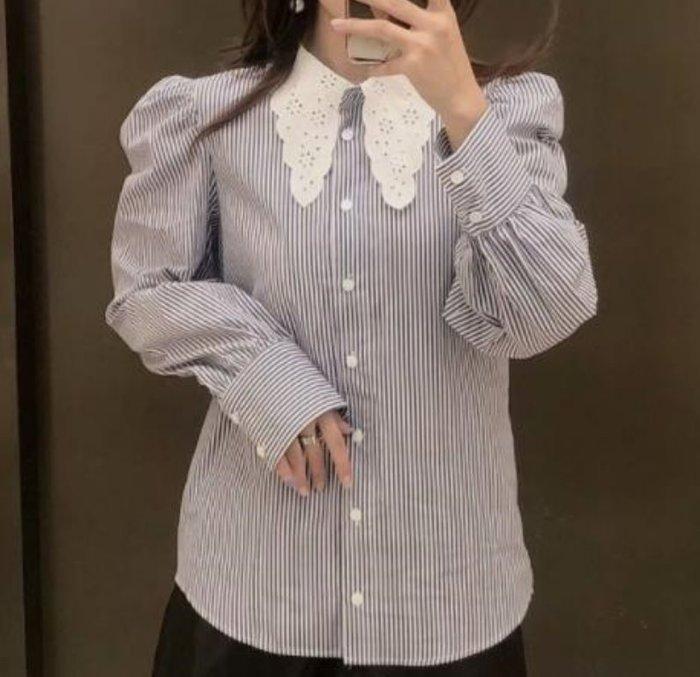 #襯衫#歐美新款秋季條紋翻領襯衫上衣S33-36369