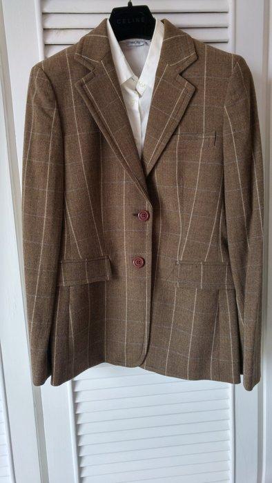 法碼38【MAX & CO】棕格紋單排兩扣修身版英倫學院風西裝外套