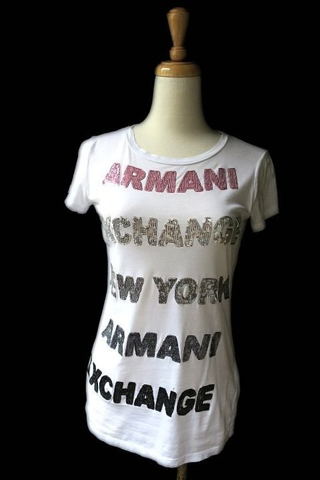 *Beauty*ARMANI EXCHANGE亮片LOGO白色短袖棉T恤 XS號