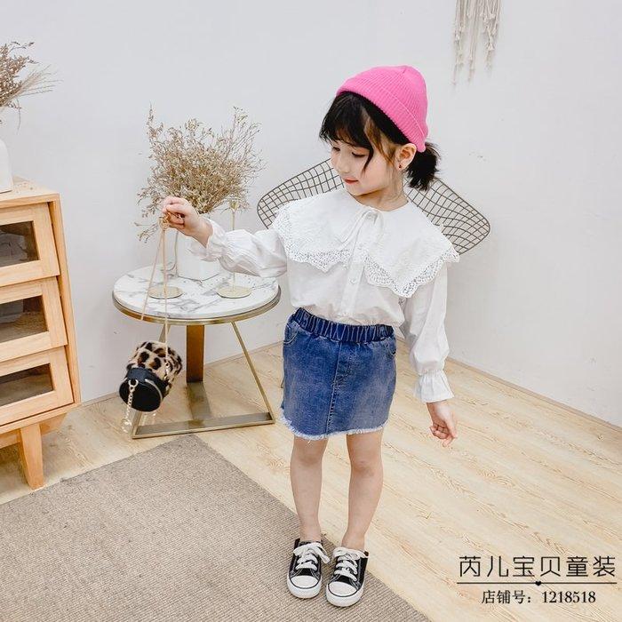 韓國童裝女童韓版春季新品甜美大蕾絲領長袖襯衫兒童2019春季襯衫