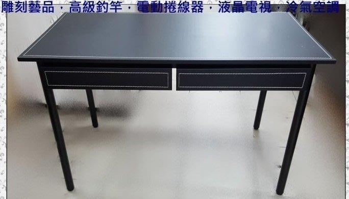 二手家具 台中 樂居全新中古傢俱買賣 EA1217AJG*全新馬鞍皮雙抽屜書桌 電腦桌 辦公桌*零碼桌椅戶外休閒桌會議桌