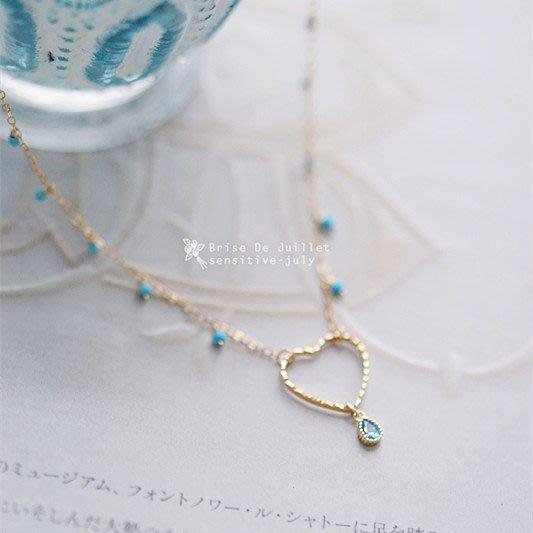 FJ44-法式手工輕珠寶-迷霧藍。鏤空桃心+淡藍水滴+藍松石項鍊snidel大衣ca4la洋裝帽