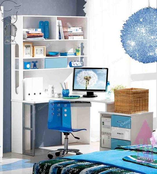【X+Y時尚精品傢俱】書桌電腦桌系列-滿天星L型電腦桌(水藍)不含椅.亮面鋼琴烤漆.摩登家具