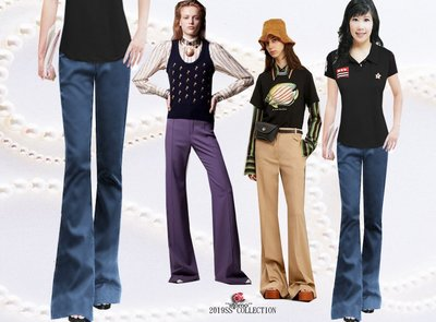 *FASHION STAR*iitomo台製精品~腿長無小腹瘦大腿~時尚新線條~夏最舒適輕鬆牛仔藍中喇叭褲S~2L