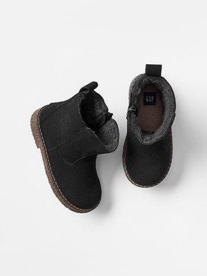 全新Baby Gap 品牌 男女童 絨面靴子 羊絨襯裡 黑 很好看的靴子 18公分