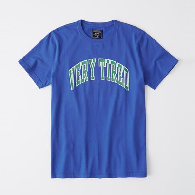 【Abercrombie&Fitch】【A&F】AF男款短袖T恤綠VERY TIRED寶藍 F07190429-01