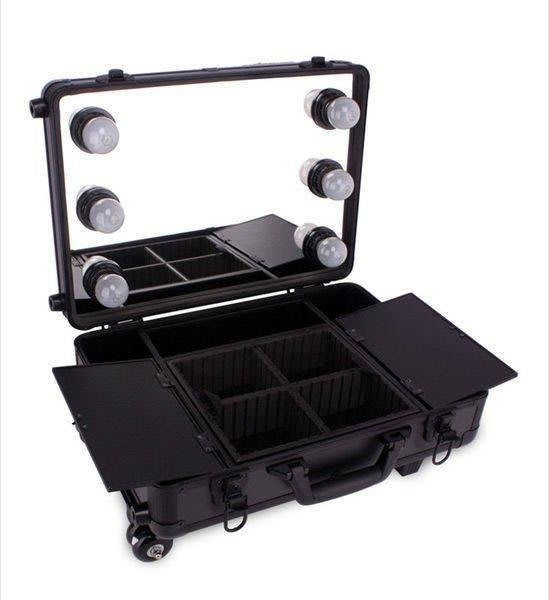 【格倫雅】^Sunrise 多層帶鏡子燈泡拉桿專業化妝箱 跟妝化妝箱WB418B配燈1
