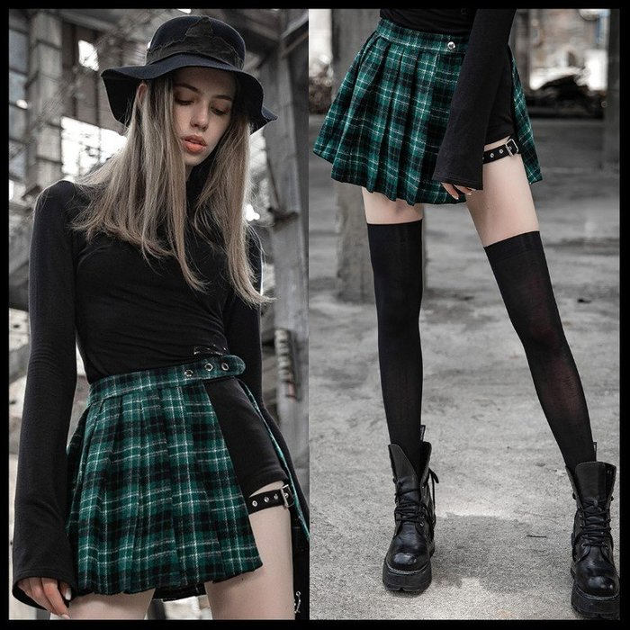 *MINI PUNK LOLO*原創潮流時尚-異想世界的怪奇少女蘇格蘭格紋百褶裙+短褲(PQ-467BQ)人氣款!