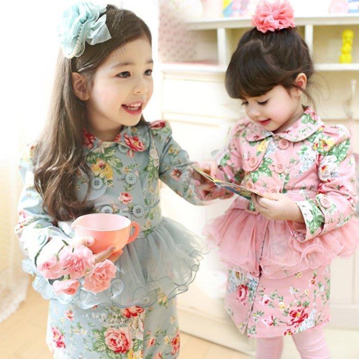 韓版《碎花腰帶款》裙式風衣外套 (L1-1)