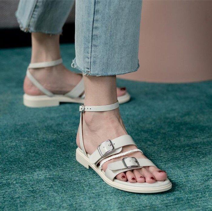 『Alice❤愛麗絲』夏季時裝涼鞋女平底鞋一字扣羅馬簡約軟底舒適休閒百搭仙女風