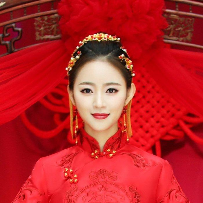 周可可 新娘古裝頭飾鳳冠秀禾和服旗袍配飾髮卡民族流梳飾品結婚禮服發飾 ZC1141