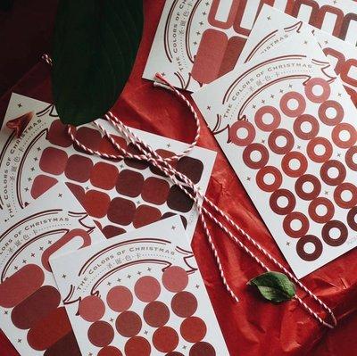 吉諾手賬花園 N1ng 平方Studio 秋冬圣誕色卡貼紙 純色幾何百搭實用手帳裝飾