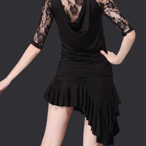 5Cgo【鴿樓】會員有優惠 43969382923 成人拉丁舞裙新款 廣場舞服裝裙子 斜邊交誼舞裙短裙半身裙