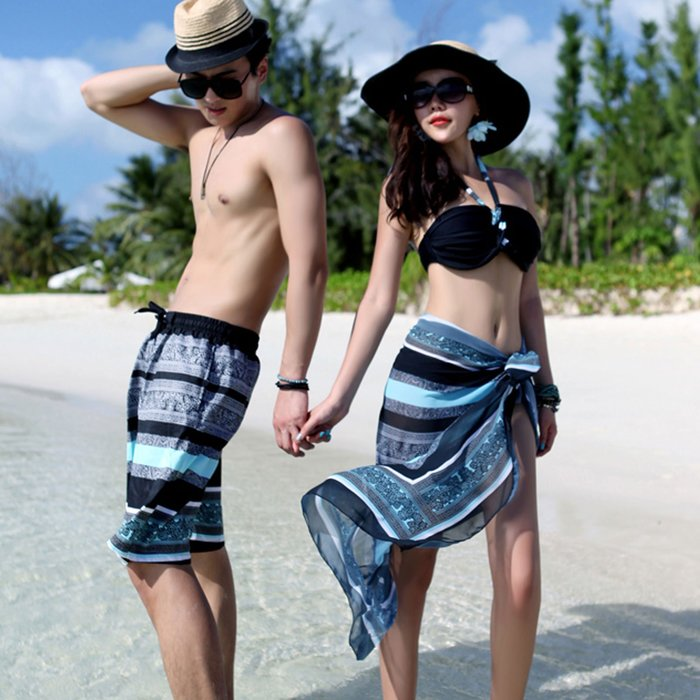 比基尼 吉普賽風三件套沙灘情侶泳裝【O3388】☆雙兒網☆(男裝下標區)