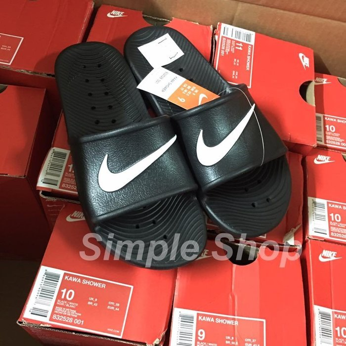 【Simple】現貨 Nike Kawa Shower Slide 拖鞋 NIKE防水拖鞋 黑色白勾832528-001