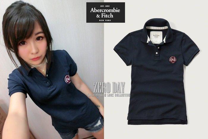 【零時差美國時尚網】A&F Abercrombie&Fitch Embroidered Logo Slim Polo衫藍