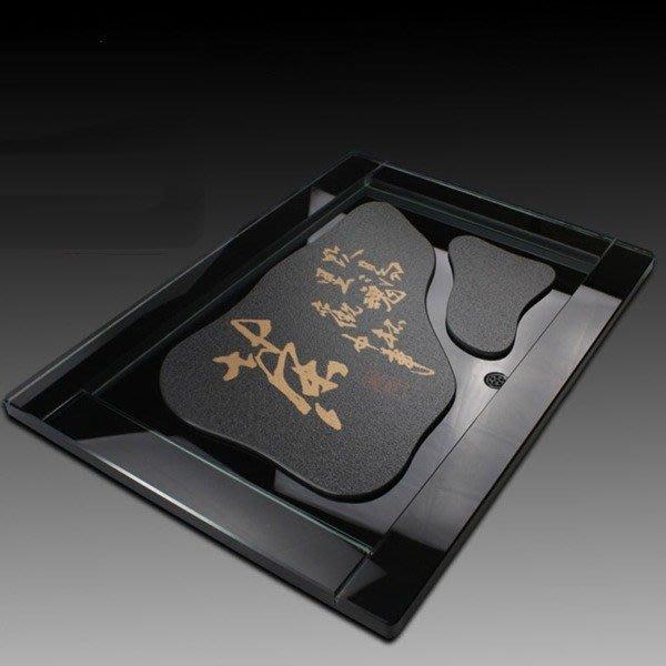 5Cgo【茗道】含稅會員有優惠 40223012453 黑金茶字玻璃茶盤琉璃茶盤功夫茶具現代茶臺泡茶茶船50*36cm